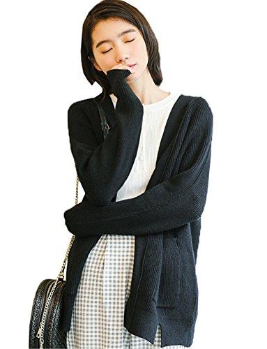 JOTHIN Autunno Inverno Donna Cardigan Tinta Unita Maglia Giacca con Tasche lunghi Maglioni vintage Eleganti Knit Cappotti Nero