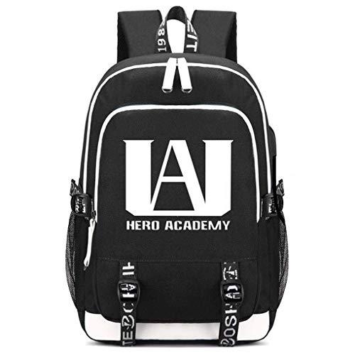 Memoryee My Hero Academia Druckrucksack Mittelschultasche Laptop Daypack mit USB-Ladeanschluss Headset-Anschluss und 2 Leitungen Schwarz1