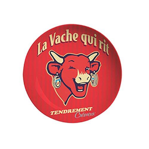 LVQR Diffusion 520104 Vintage Assiette à Dessert Motif La Vache qui Rit Céramique Rouge