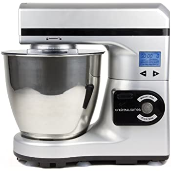 Andrew James Large 7 Litre Automatic Silver Food Stand Mixer - Includes 2 Year Warranty, Powerful Motor, 7 Automatic settings, Digital Control and LCD Display + 128 Page Food Mixer Cookbook
