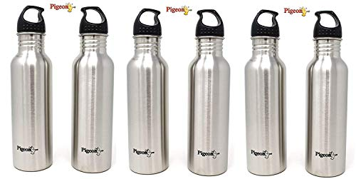 Pigeon by Stovekraft Stainless Steel Water Bottle Set, 750ml, Set of 6, Silver
