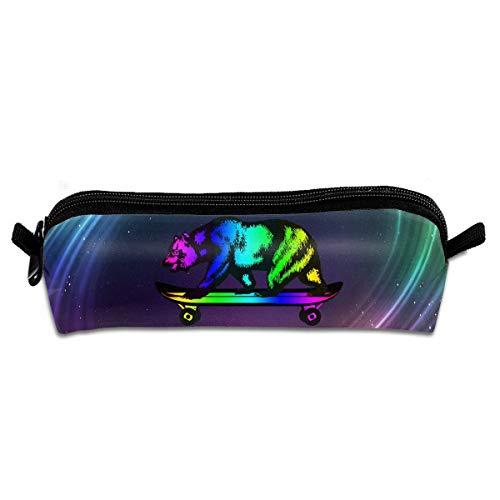 Colorful California Flag Bear with Skateboard Multifunktions-Kosmetiktasche Große tragbare Kosmetiktaschen -