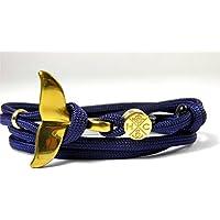 HanseCharms - Edelstahl Walflossen Armband - Schickes Maritimes Surfer Armband-Verstellbar-Freundschaftsarmband-Geschenk-Weihnachtsgeschenk