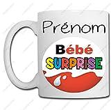Linyatingoshop Mug Bébé Surprise - Personnalisation avec Votre prénom - Idée Cadeau - Naissance