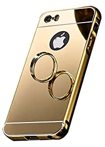 Apple iPhone 5/5S Case,Spygen™ Luxury Metal Bumper + Acrylic Mirror Back Cover Case For Apple iPhone 5/5S (Golden)