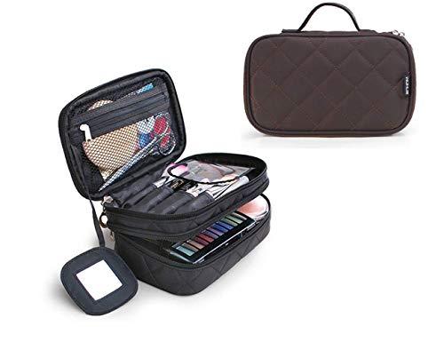 2-Layer Reise Kosmetiktasche mit Spiegel Tragbarer Kulturbeutel Makeup Tasche mit Bürstenschlitz Große Organizer mit Netztasche für Makeup Pinsel Toilettenartikel Schmuck Werkzeuge Bürsten (Tragbarer Make-up-spiegel)