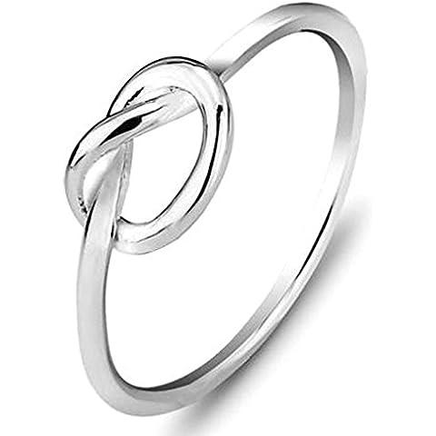 Donna Matrimonio Banda Placcato argento argento Nodo Eternità Promessa Anello Dimensione 17 di Aienid - Nero Monili Di Nozze Insieme