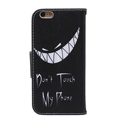 Trumpshop Smartphone Case Coque Housse Etui de Protection pour Apple iPhone 6 / iPhone 6s (4.7-Pouce) + Don't Touch My Phone (Ourson) + Mode Portefeuille PU Cuir Avec Fonction Support Don't Touch My Phone (Sourire)