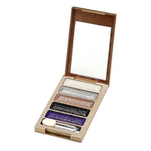 Vococal® 5 Couleurs de Diamant Lumineux Couleurs Fard à Paupières Ombre à Paupières Super Glitter Flash Maquillage Cosmétiques Palette Étui Numéro 5