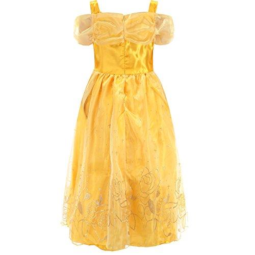 Robe-Princesse-Fille-LiUiMiY-Deguisement-Costume-Enfant-Jaune-dhalloween-Carnaval-Cosplay-Anniversaire-Fte-avec-Couronne