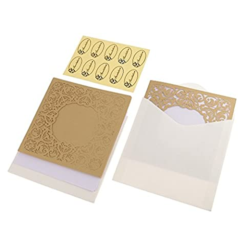 MagiDeal 10pcs Elegant Wedding Invitation Cards Kits Lac Hollow Cardstock Baby Shower