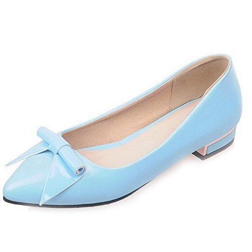 AllhqFashion Damen Niedriger Absatz Ziehen Auf Blend-Materialien Spitz Zehe Pumps Schuhe Blau