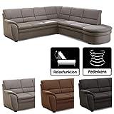 Cavadore Ecksofa Gingle / Sofa mit Federkern, Relaxfunktion und hochwertigem Mikrofaser-Bezug in Wildlederoptik / Klassisches Design / Größe: 260 x 89 x 240 cm (BxHxT) / Farbe: Grau