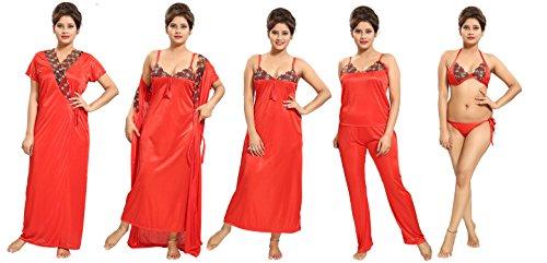Tucute Women\'s Satin Nightwear Set of 6 Pcs Nighty, Wrap Gown, Top, Pyjama, Bra & Thong (Red) D.No.1180