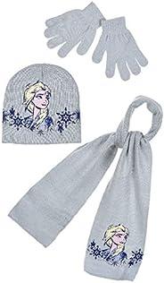 Conjunto de bufanda, gorro y guantes para niña, diseño de Frozen Elsa, morado y azul claro de 3 a 9 años