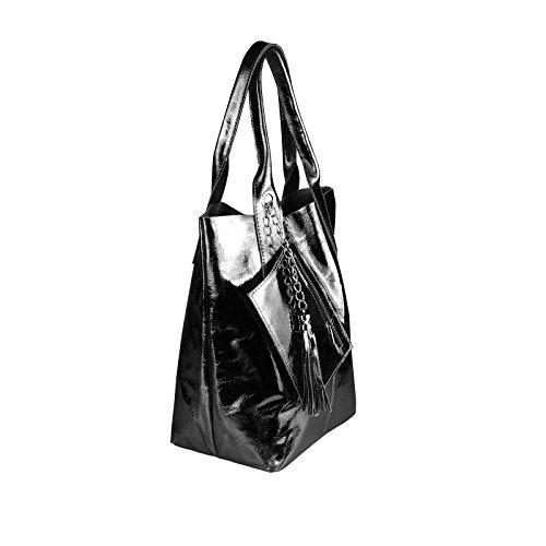 OBC donna metallizzato BORSA SHOPPER HOBO BAG Borsa a tracolla borsetta con manici borsa marsupio - Rosa Antico, ca 40x36x16 cm (BxHxT) Schwarz-Leder 42x35x16
