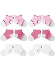 Sock Ons Chaussettes pour bébé Clever Little Things qui Garde sur. Lot de 6, petit, fille (0–6mois)