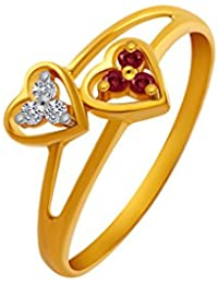 P.C. Chandra Jewellers 14KT Yellow Gold and American Diamond Ring for Women