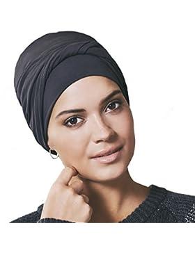 Gorro oncológico 100% algodón Edith con drapeado - negro arenoso