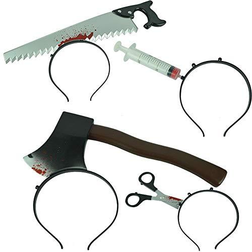 Hlzf Halloween Schreckliche Stirnband, Messer Durch Kopf Kostüm Blutende Messer Stirnband-Accessoire, 4 Stück - Alloween Kostüm
