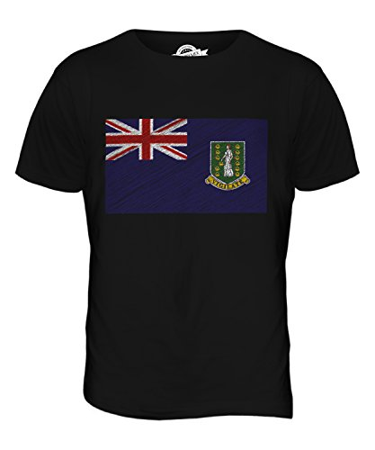 CandyMix Britische Jungferninseln Kritzelte Flagge Herren T Shirt Schwarz