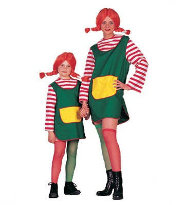 Pippi Einfach Kostüm Langstrumpf - PARTY DISCOUNT Kinder-Kostüm Grünes Kleid, Gr. 128-140