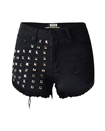 SaiDeng Donna Vintage Jeans Hole Shorts Denim Pantaloncini Corti Con Rivetto Nero 34