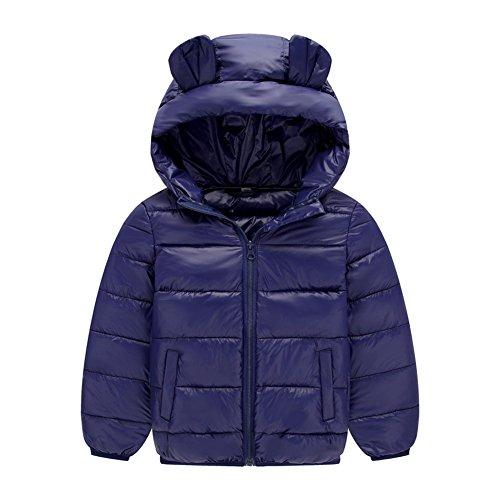 Deylaying bambino ragazze ragazzo tute da neve felpa con cappuccio orecchie carine piumino inverno addensare cappotto per 1-8 anni 110cm
