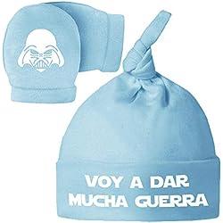Pack Gorro y Manoplas recién Nacido. Voy a Dar Mucha Guerra. Parodia Darth Vader - Star Wars. Bebé Friki. (Azul)