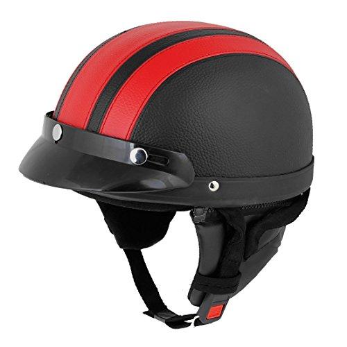 SODIALR Casco Rojo Negro Cuero falso Motocicleta Casco