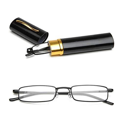 KOOSUFA Lesebrillen Herren Damen Tragbar Brillenhülle Metall Klassische Scharnier Schmal Leichte Stil Stärken lesebrille mit Etui Taschenclip Brillenetui (Schwarz, 2.0)