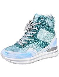gibra, Sneaker donna, blu (Blu/Verde fluo), 38