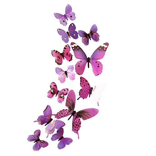 FORH 12 PCS 3D Schmetterlinge Wanddeko Aufkleber Abziehbilder Wand Aufkleber Hauptdekorationen Wandtattoo Schmetterlings Regenbogen Wand-dekor Kinder Baby Schlafzimmer Deko (Lila 1)
