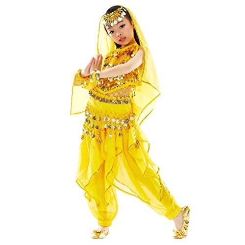 (Xinwcang Girls Kinder Mädchen Bauchtanz Kostüme Set Das Obere Top+ Pluderhosen Tanzkleid Halloween Karneval Darbietungen Tanzkostüme Gelb (7PC) S)