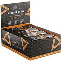 Marchio Amazon- Amfit Nutrition Barretta proteica con caramello al gusto di cioccolato, confezione da 12 (12x60g)