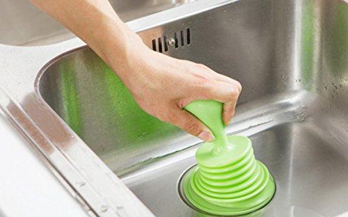 Nützlicher Abflussöffner für Luftpumpe, Abflussöffner, Toiletten, Kolben mit Abflusssperre (grün)