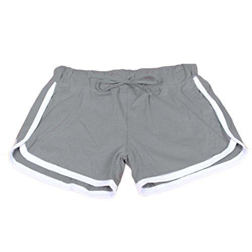 Balai Femmes Casual Shorts en vrac coton fendus taille elastique Shorts Taille Plus Gris