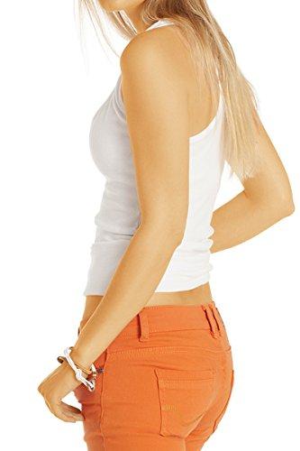 841a634ae012 ... Bestyledberlin Damen Jeans, hüftige Jeanshosen, Hüftjeans Slim Fit  tiefer Bund j40i Orange