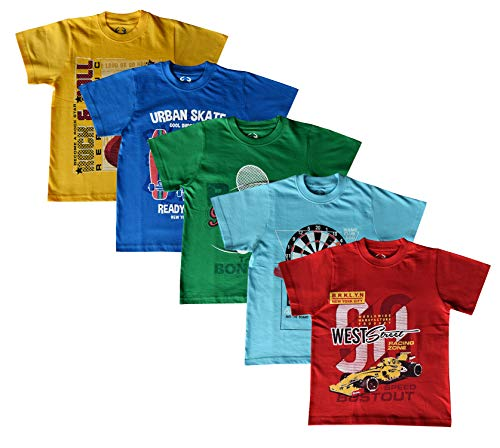 Elk Boy's Kids Round Neck Printed Half Sleeve Cotton Tshirt Red Yellow Green 5 Combo Pack