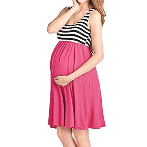DAY8 Robe Femme Enceinte Été Grande Taille Chic Soiree Rayé Robe Femme Enceinte Photographie Mariage Ceremonie Courte Mini Jupe Robe Maternité Grossesse Femme Vetements Pas Cher (XL, Rouge)