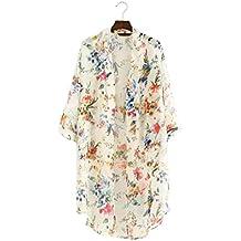 DEELIN Cardigan De Kimono De Gasa De Media Manga Estampado Floral De Las Mujeres Vestido De