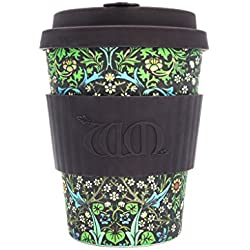 Ecoffee Cup William Morris - Taza de café, color morado Blackthorn ? 340 ml. Taza de café de bambú reutilizable