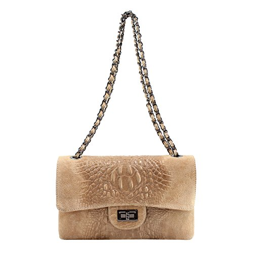 CTM Pochette da Donna a Spalla, borsetta con tracolla, vera pelle made in Italy - 28x16x8 Cm