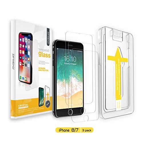 ZIFRIEND iPhone 8 Panzerglas/iPhone 7 Panzerglas [3 Stück] Kompatibel mit iPhone 8/7, 9H Härte Panzerglasfolie, 2.5D Schutzfolie, 3D-Touch, Anti-Bläschen, Anti-Kratzer inklusive Installationszubehör