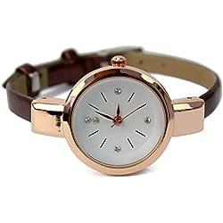 Trendy Elegant Thin Strap Analog Golden Dial Wristwatch for Women Lady Coffee