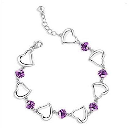 wicemoon Sight Amethyst in Herzform lila Diamant Armband Kette Silber Jewelry Hand Kette Anhänger Dekoration für Frauen
