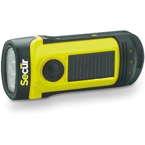 Secur Linterna de 3 LED impermeable con manivela o alimentación solar incorporada. LED de alta potencia con 3 funciones, alimentada por dinamo sin necesidad de pilas. Sumergible hasta 13,70 m (45 pies)