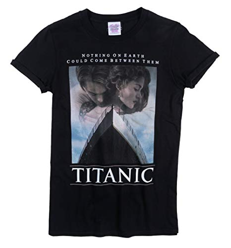 Womens Titanic Movie Poster Black Boyfriend Fit Rolled Sleeve T Shirt - Lady Movie Poster