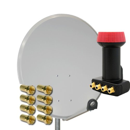 PremiumX Digital SAT Anlage 80 cm Schüssel Spiegel Antenne + Megasat Diavolo Quad LNB 4 Teilnehmer + 8 F-Stecker 7mm vergoldet