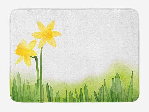 Klotr Fußabtreter, Daffodil Bath Mat, Daffodil Flower in Grass Field Meadows Freshening Uniform Colored Illustration, Plush Bathroom Decor Mat with Non Slip Backing, 40X60 cm, Green Yellow